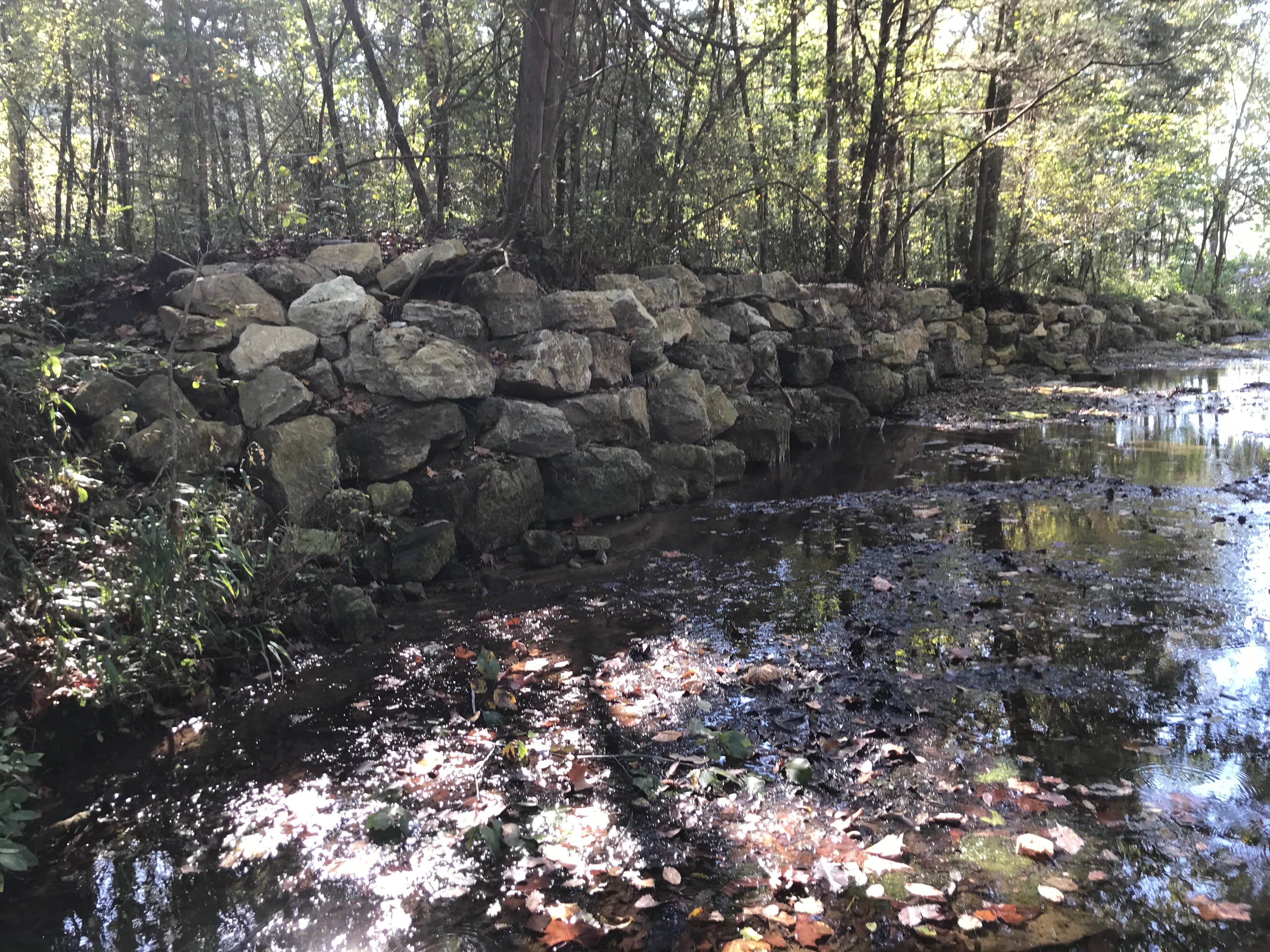 About 100 tons of rock was used to help reinforce Dry Run Creek's bank. The additional rock will help prevent sediment from infiltrating the creek during heavy rainfalls.