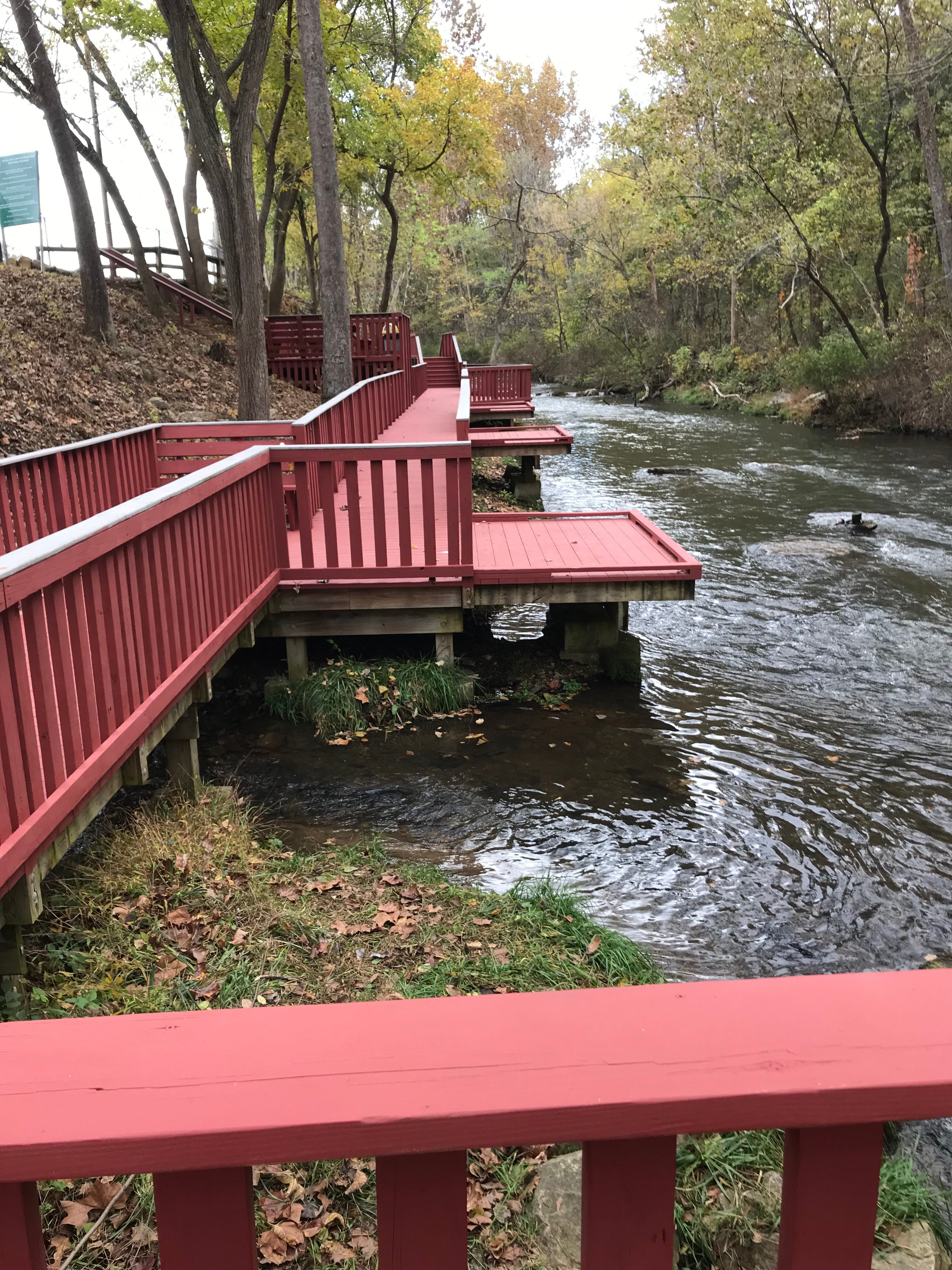 The decks and railings along Dry Run Creek offer handicapped anglers easier access to the water.