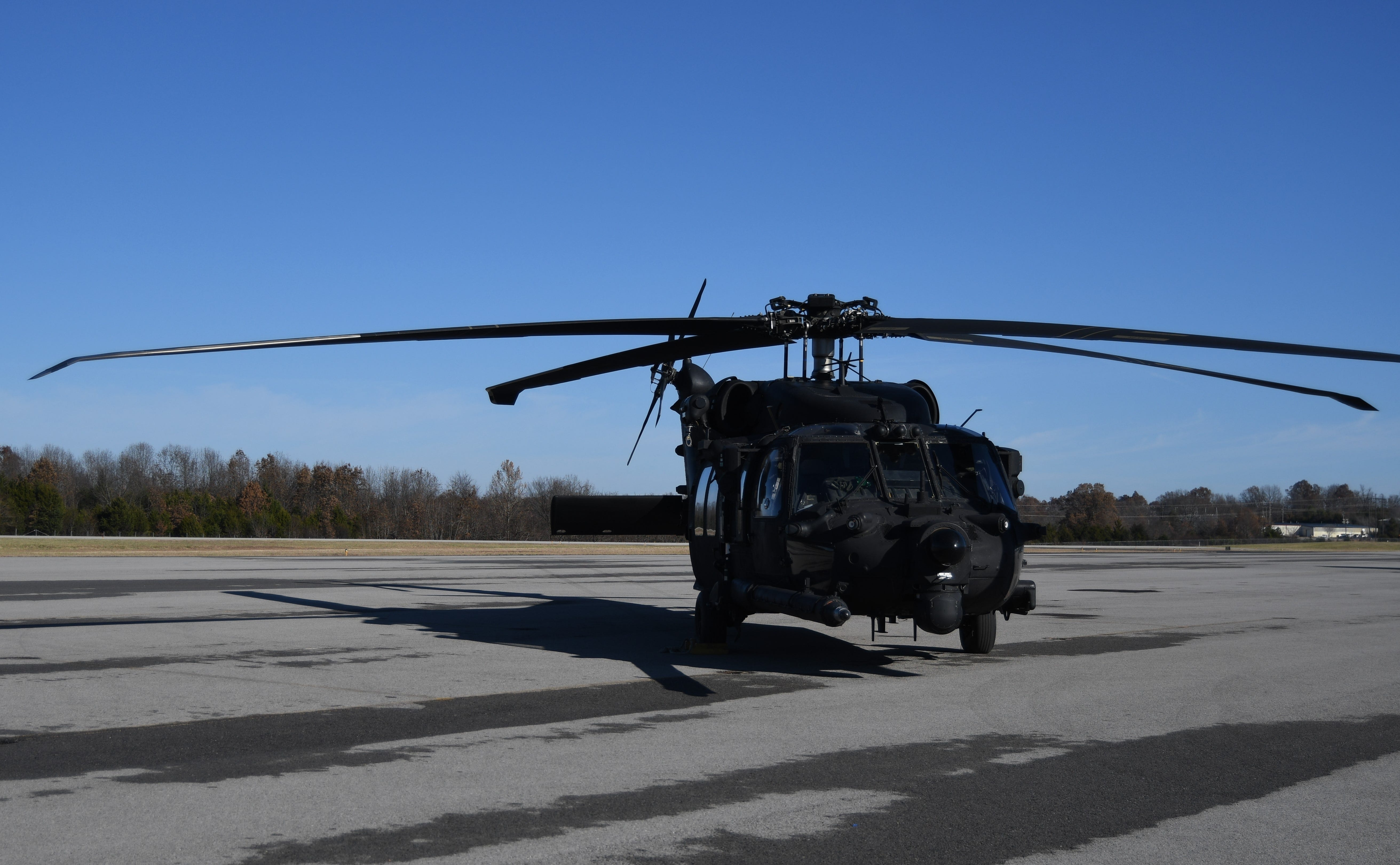 This MH-60M Black hawk helicopter touched down at the Baxter County Airport in Midway on Nov. 25. The helicopter's crew visited the Twin Lakes Area to pick up 49 camouflaged quilts made by Mountain Home resident Sandra Kiphuth.