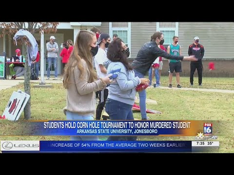 Watch: ASU students hold corn hole tournament to honor murdered student Chloe Vaught.