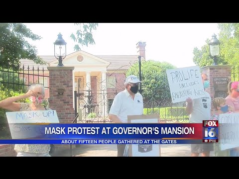 Watch: Protestors voice concerns outside Governor's Mansion over the mask mandate ban as school year approa